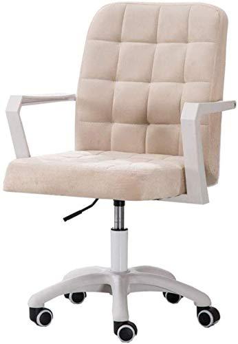 LIUBINGER Silla de Oficina Las sillas de Escritorio Tela Home Office Computer Taburete Giratorio Silla de Ruedas, 8Cm Ajustable en Altura, Base de Nylon (Color : Beige)