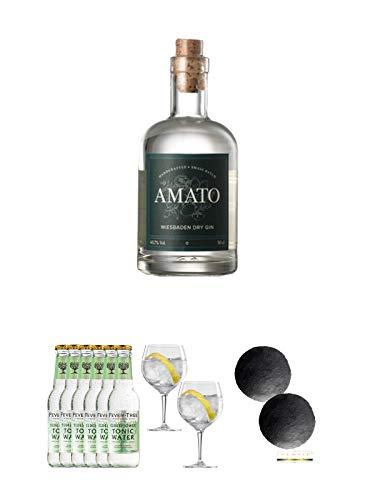 Amato Gin Deutschland 0,5 Liter + Fever Tree Elderflower Tonic Water 6 x 0,2 Liter + Spiegelau Gin & Tonic 4390179 2 Gläser + Schiefer Glasuntersetzer RUND ca. 2 x 9,5 cm Durchmesser