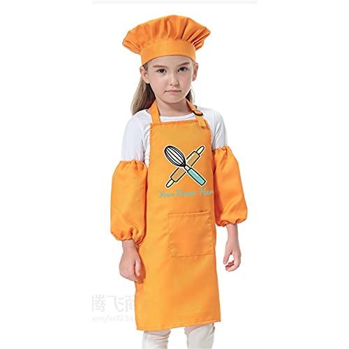 yqs Delantal Cocina, Niños Cocina Horneado Babero Pinafore Niño Poliéster Delantal Pintura Comer Ropa Smock Chef Sombrero Imprimir (Color : Orange, Size : 58x40cm)