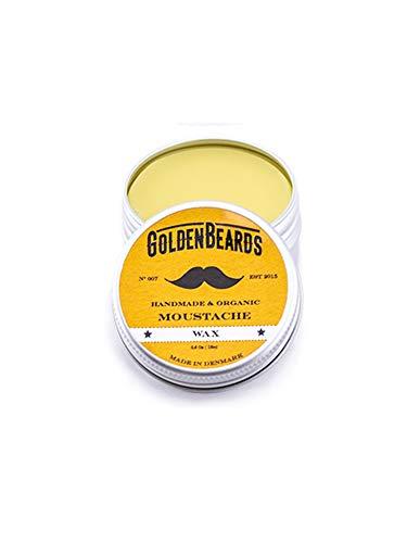 Moustache Wax - Bio Schnurrbart wachs - 15ml 100% natürlich * Goldene Bärte * Jojoba & Argan & Aprikosenöl. Holen Sie sich das beste Produkt für Ihren Schnurrbart, mittel/stark halten
