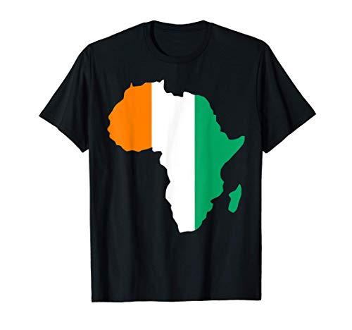 Drapeau de la Côte d'Ivoire d'amour sur la carte l'Afrique T-Shirt