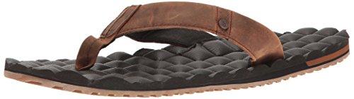 Volcom Men's Recliner Leather Sandal, Vintage Brown, 10 C/D US