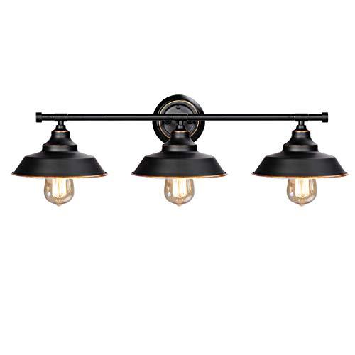 Wandlampe Vintage Industrial Bad Spiegellampe Wandhalterung 3-flammig E27 LED Spiegelleuchte Schwarz Bad-Wandleuchten aus Metall Wandleuchte Innen Badleuchte Wand Aufbauleuchte Schrank-Beleuchtung