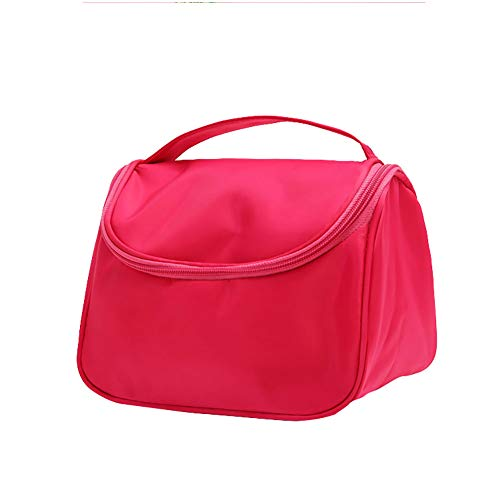 lujiaoshout Multifunctional Waterproof Handheld Travel Cosmetic Bag Nylon Toiletry Container Organizer Bag - Rose Red