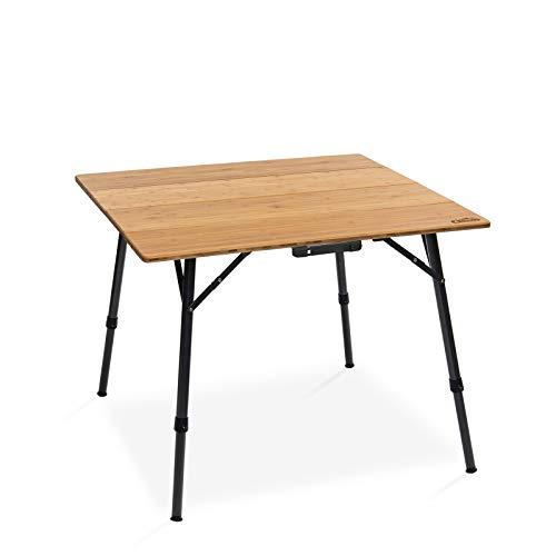 Qeedo Kimmy M, Campingtisch mit Bambus-Tischplatte, 90 x 90 cm, Höhenverstellbar