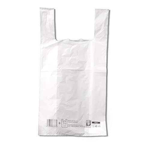 EUROXANTY Bolsas de Plástico Tipo Camiseta | Alta resistencia | Reutilizables y Reciclables | Material Polietileno de Alta Densidad | Con Asas | Apta para Alimentos | 60 x 70 | 40 uds
