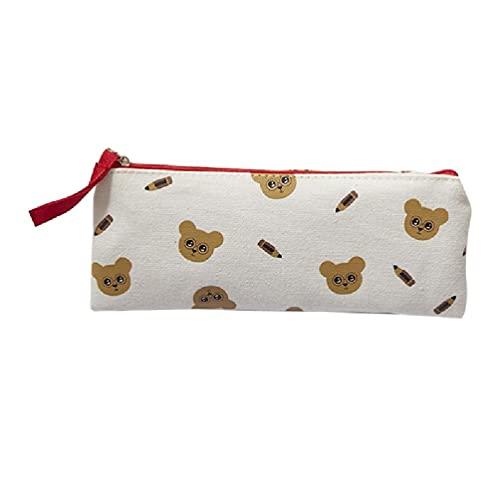 Unkonw Kawaii - Bolsa de lápices de lona con cremallera para maquillaje, diseño de oso de dibujos animados