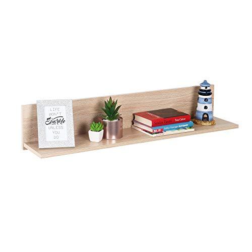 RICOO Wandregal (WM052-ES) 98 x 19 x 19 cm Holzregal Eiche Sonoma Braun Bücherregal Organizer Bücherschrank Wandboard Pflanzenregal Wohnzimmer