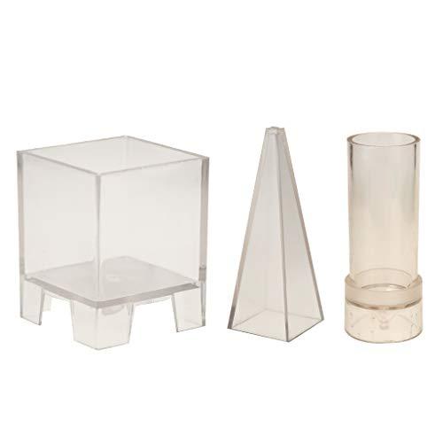 P Prettyia 3 Pièces Moule en Plastique Pyramide Cylindre Carrée pour Résine Epoxy/Bijoux/Cire de Bougie/Homemade Savon/Bombe de Bain