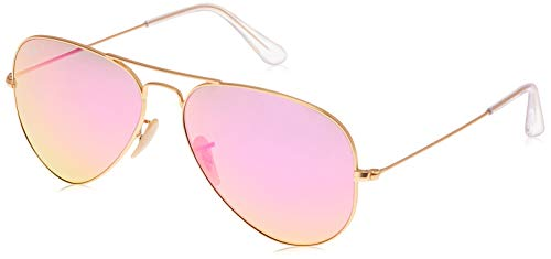 RayBan RB3025 Classic Aviator Sunglasses Matte Gold/Brown/Violet Polarized 58 mm