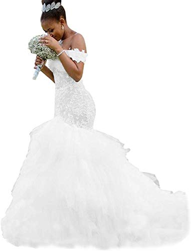 Meganbridal Women's Off Shoulder Mermaid Wedding Dresses with Train for Bride Ruffles Tulle Lace Bridal Ball Gown