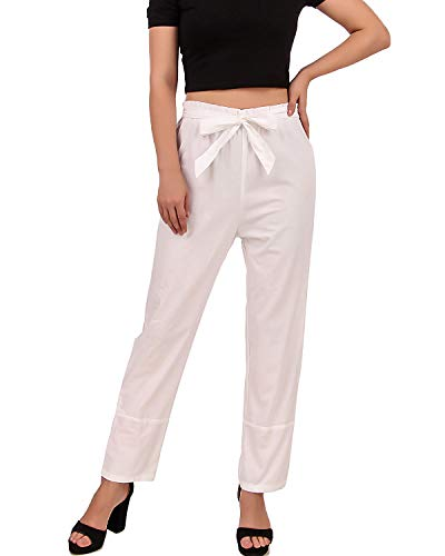 Pirate Renaissance Medieval Gothic Wench Cosplay Costume Women's Self-Tie Frill-Waist 100% Cotton Pants (White) (X-Large)