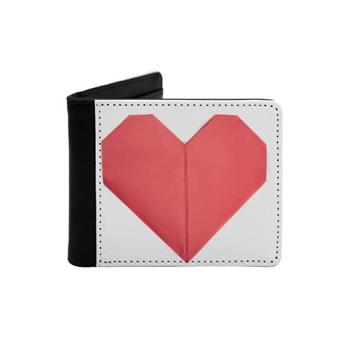 Cartera Delgada de Cuero para Hombre,Muchos Corazones de Origami de Papel Rojo Que Muestran Amor por el día de San Valentín,Cartera Minimalista con Bolsillo Frontal Plegable