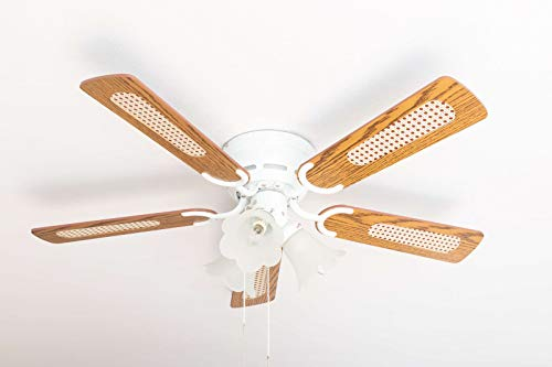 Pepeo Deluxe Deckenventilator 105 cm weiß Flügel Eiche / Walnuss inklusive Beleuchtung und Zugschalter Kisa Deluxe weiß mit Beleuchtung