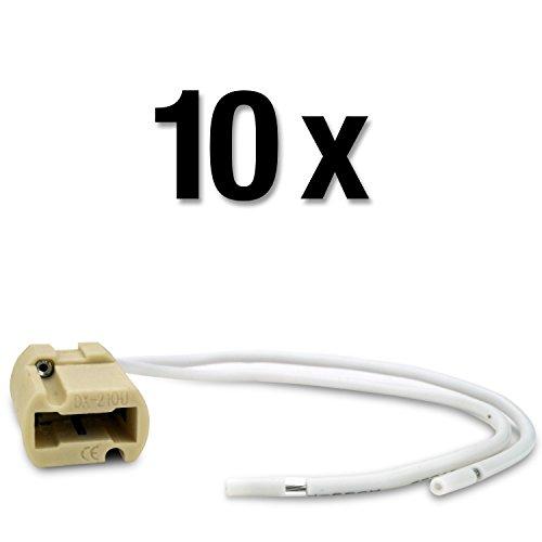 MAILUX SOD19734 G9 Fassung | Sockel für LED und Halogen | 230V - 250V | Keramik beige | 15cm Kabel weiß (10 Stück)