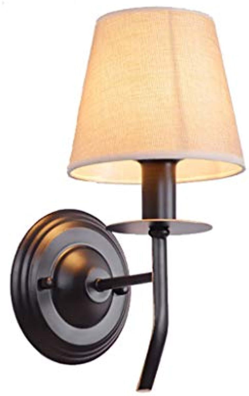 JFFFFWI Single Head Lampe, Vintage Wandlampe Korridor Nachtwandlampe Stoff Single Head Lampe E14 Leicht zu reinigen (Farbe  Single)