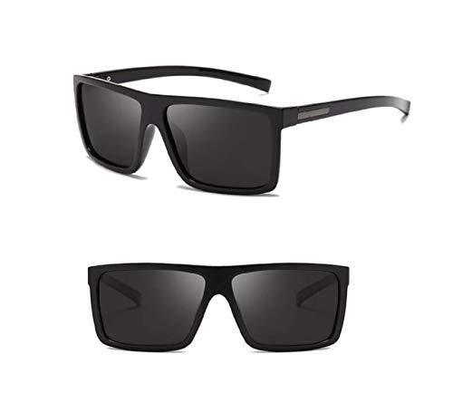 No Name Ltd Herren-Sonnenbrille, quadratisch, polarisiert, Vintage, Retro, rechteckiger Wickelrahmen, Schwarz