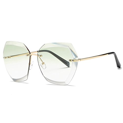 AEVOGUE Sunglasses For Women Oversized Rimless Diamond Cutting Lens Sun Glasses AE0534 (Gold&Green, 63)