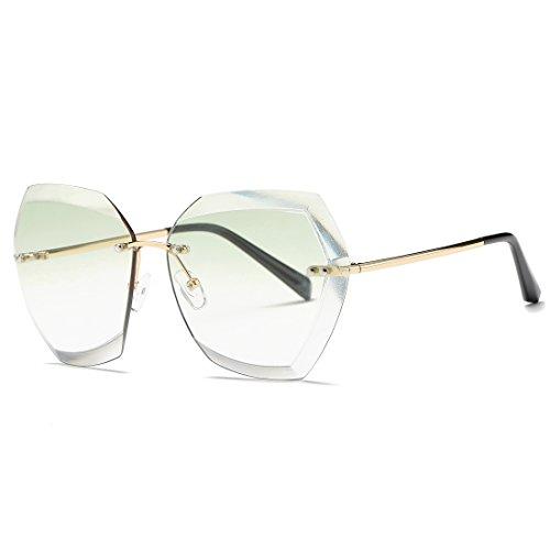 kimorn Sonnenbrillen für Frauen Übergroße randlose Diamant-Schneidlinse Klassisch Eyewear AE0534 (Gold&Grün, 65)
