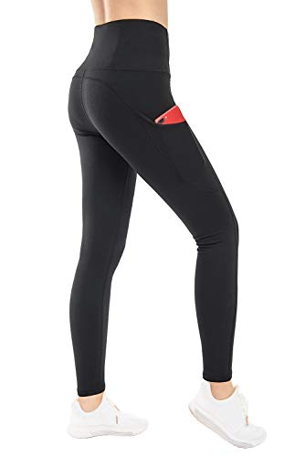 THE GYM PEOPLE Thick High Waist Yoga Pants with Pockets, Tummy Control Workout Running Yoga Leggings for Women (Small, Black  )