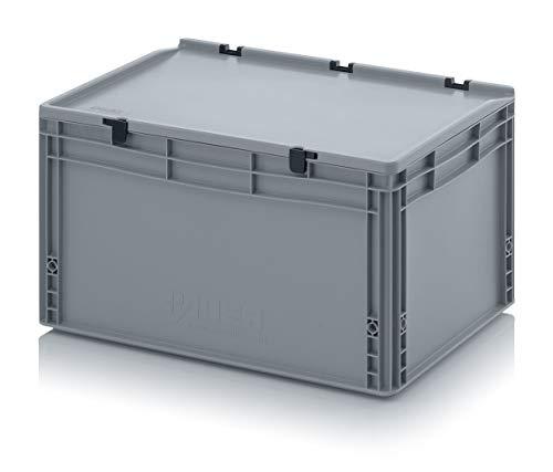 Auer Eurobehälter + Scharnierdeckel ED 64/32 HG Stapelbox 60x40x33,5cm Industriebox 66L   Handgriffe geschlossen   Transportbox Campingbox Wohnmobilbox verschließbar   Lagerbox Wäschebox Kunststoff