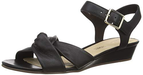 Clarks Sense Strap, Sandalia con Pulsera Mujer, Negro (Black Leather Black Leather), 36 EU