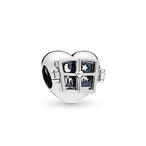 QIAMUCJC Plata de Ley 925 Utilizada para Hacer Joyas, Regalos de Bricolaje para Mujeres Qikaola Real Love Heart Moon Star Charms Fabricación de Joyas Fabricación de Regalos de Moda CMS a
