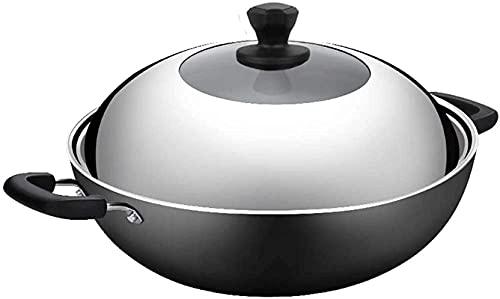 Zhanxkwok wok martillo de hierro de acero al carbono hierro fundido doble oreja wok fondo redondo wok sartén pan desayuno pan frying sartén