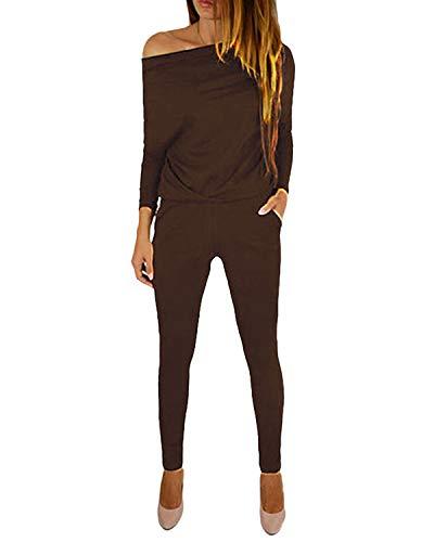 YOINS Jumpsuit Damen Elegant Langarmshirt Damen Overall Off Shoulder Strand Romper Lang Einfarbig A-Kaffee XL
