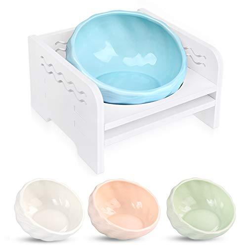 猫 えさ皿 食器台 食べやすい フードボウル 陶器 4色 (水色)