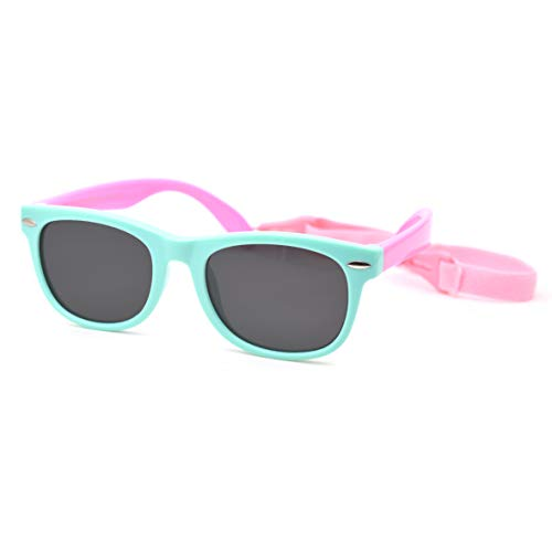 JUSLINK Flexible Baby Sunglasses for Toddler and Infant with Strap Age 0-4 (Green-pink)