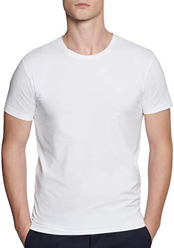 Seidensticker Herren Rundhals Kurzarm Uni T-Shirt, Weiß (Weiß 1), Large
