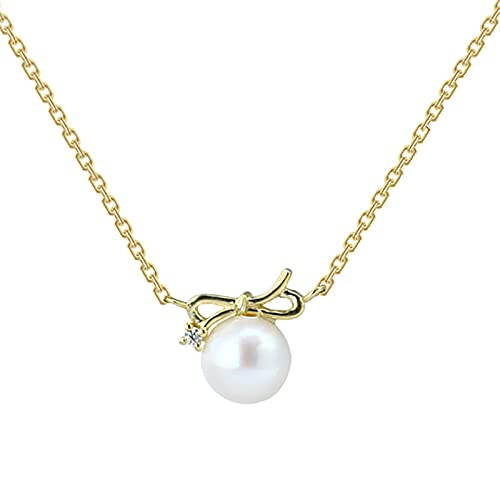 Inclinarse Collar Minimalista De Oro 9k Quilates El Colgante Perla De Moda Todo Fósforo No Se Desvanece Perla