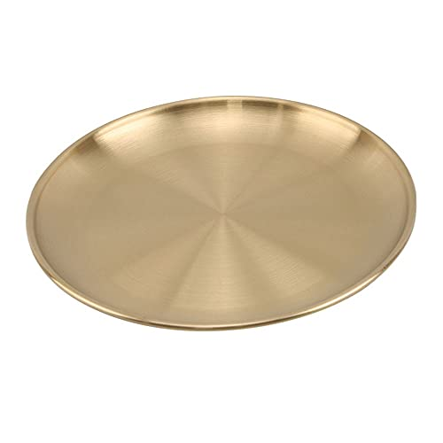 Hanpiyigcp Dinner Plates, Dinner Plates Gold Dining Plate Serving Dishes Round Plate Cake Tray Western Steak Tray Kitchen Plates (Color : Gold, Plate Size : 20cm)