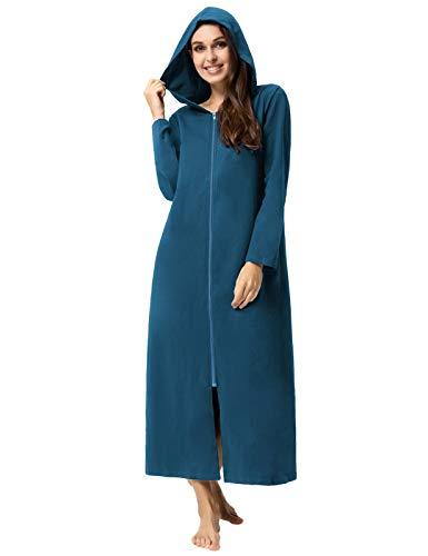 Zexxxy Damen Baumwoll Nachthemd mit Kapuze Reißverschluss Langer Bademantel Morgenmantel Hellblau S
