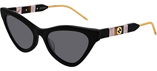 Gucci GG0597S 001 BLACK NERO GREY GRIGIO extreme cat-eye acetate SUNGLASSES 2019