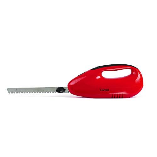 Coltello elettrico da cucina per carne, coltello elettrico per alimenti (lama doppia, lama ondulata, coltello da carne, 150 Watt, rosso)