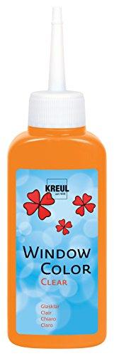 Kreul 40204 - Window Color Clear, Fenstermalfarbe auf Wasserbasis, für glatte Oberflächen wie Glas, Spiegel und Fliesen, 80 ml Malflasche, orange
