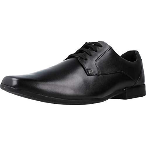 Clarks Glement Lace, Zapatos de Cordones Derby Hombre, Negro (Black Leather), 43 EU