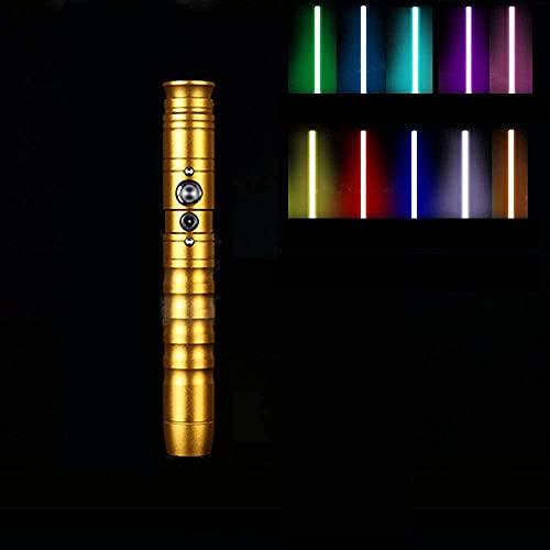 WLZJ Juguete luminoso eléctrico RGB Lightsable con 11 cambios de color y 2 efectos de sonido interactivos juguetes para niños y adultos, vacaciones, oro