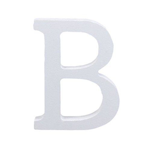 Outflower Ornements de l'alphabet Anglais Moderne Bois Grande Décoratifs Lettres en Bois à Suspendre Stickers Muraux Restaurant Décor Décoration de Mariage à la Maison en Bois Blanc Bois,8cm (B)