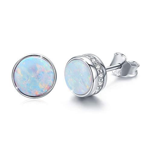 Waysles Opal Stud Earrings, 925 Sterling Silver Tiny Stud Earrings with Cubic Zirconia for Women 7MM Round Hypoallergenic Opal Stud Earrings for Sensitive Ears