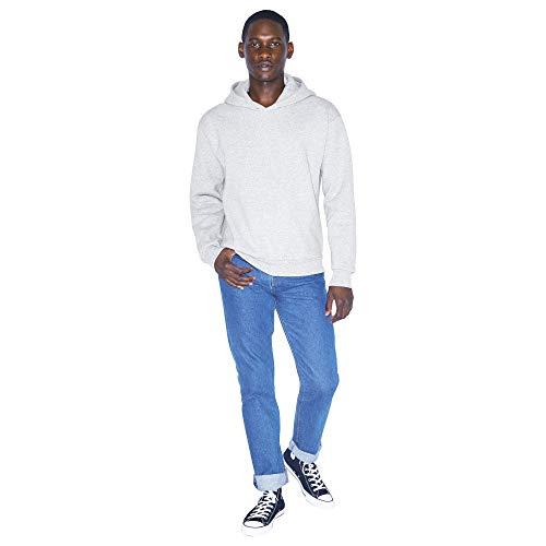American Apparel Men's Mason Fleece Long Sleeve Pullover Hoodie Hooded Sweatshirt, Heather Grey, XXL