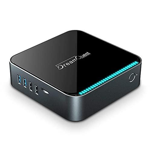 SUNNZO Mini PC sin Ventilador 8GB DDR4  128GB ROM con Win 10, CPU Intel J3455y Gráfico HD 4K,Mini Computadora WiFi de 2.4GHz + 5.8GHz y Salidas Gigabit Ethernet,HDMI y VGA,BT 4.0