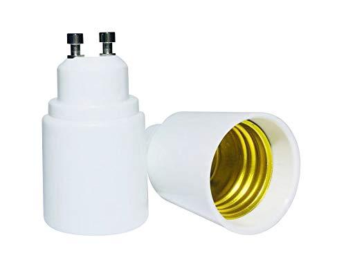 Luminosa - Adaptador GU10 a E27 (2 unidades) / Adaptador de casquillo GU10 a Edison grande de rosca / Adaptador de GU 10 a E27 de luz LED / Certificado CE / Etiqueta energética A+