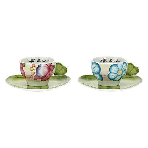 THUN ® - Set 2 Tazze Medie - Linea Cerimonia fantasticacon Piattini a Forma di Foglia - Porcellana - 170 ml - ø 15,2x16,6 cm