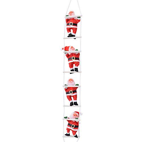 Holibanna Escalada Santa Claus en La Escalera Árbol de Navidad Santa Estatuilla Decoración Árbol de Navidad Fiesta de Vacaciones Puerta de Casa Adorno de Pared Juguetes Regalo