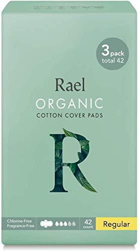 Rael Certified Organic Cotton Menstrual Regular Pads, Ultra Thin Natural Sanitary Napkins with Wi...