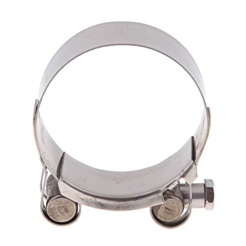 Abrazadera de Tubo de Escape Soporte de Silenciador de Acero Inoxidable, Fácil de Instalación - Color plata 52-55mm