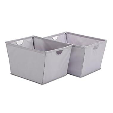 STORAGE MANIAC 2-Pack Medium Shelf Basket with Wire Frame, Home Tapered Storage Bins, Gray